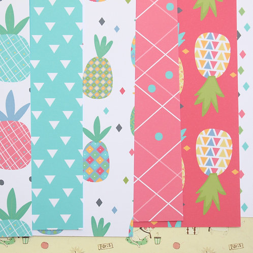 set 02 funky pineapple mix printed card stock