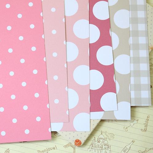 set 02 retro pink mix printed card stock