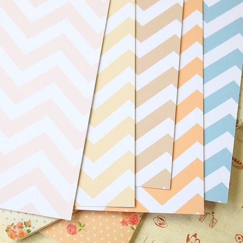 set 04 pastel fat chevron mix printed card stock