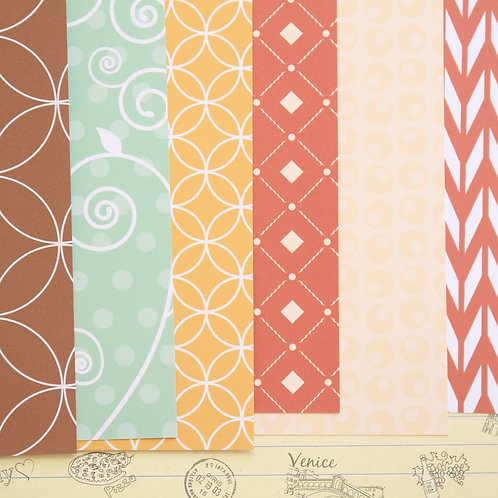 set 01 red brown & blue mix patterns printed card stock
