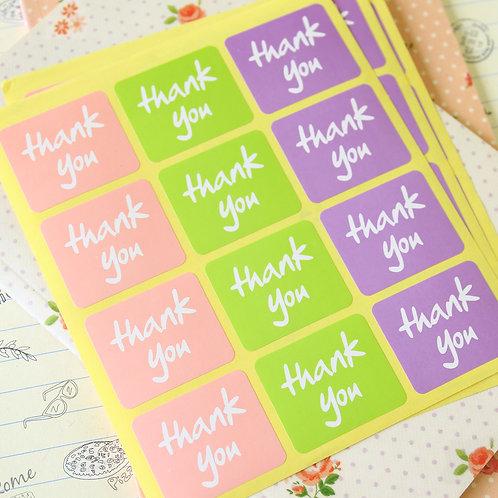 pastel squares thank you sticker seals