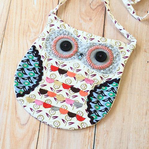 grey ditsy owl vintage floral shoulder bag