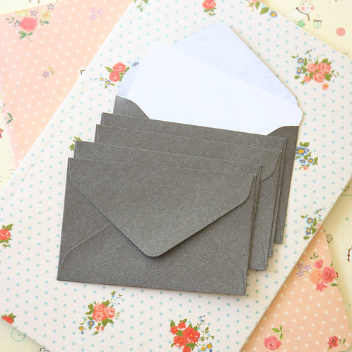 medium taupe grey pearlescent mini envelopes & notecards
