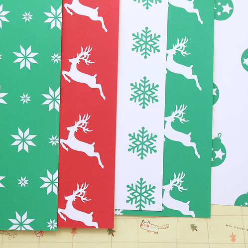 set 04 red and green christmas mix printed card stock