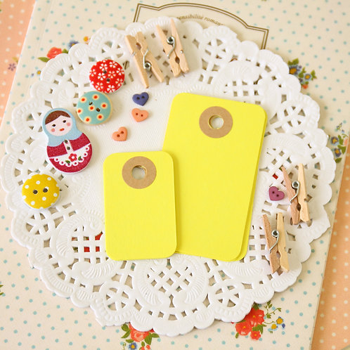 lemon yellow rounded rectangle tags