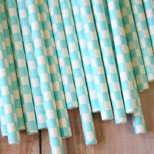 light blue checkers paper straws