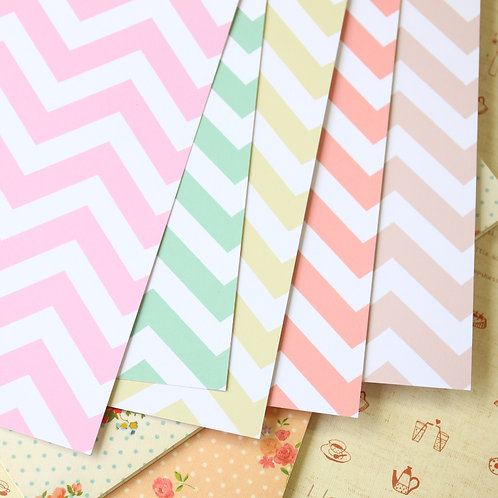 set 01 pastel fat chevron mix printed card stock