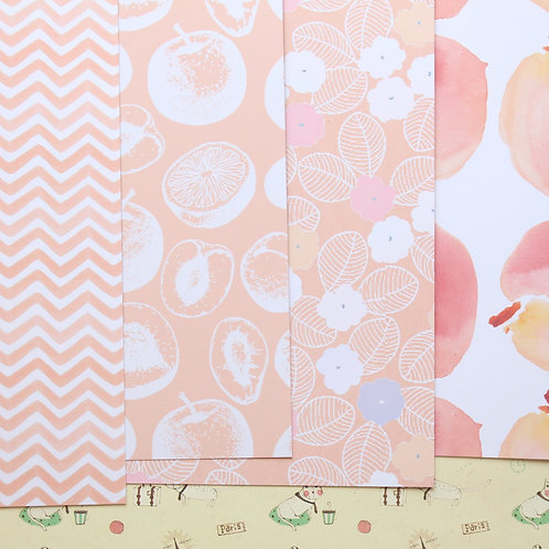 set 01 peach mint mix cartoon printed card stock