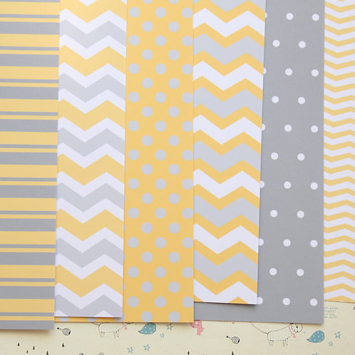 set 01 yellow and grey printed card stock
