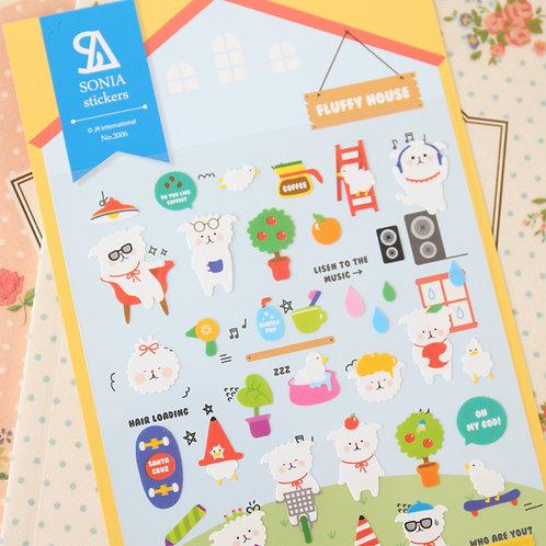 sonia fluffy house cartoon stickers