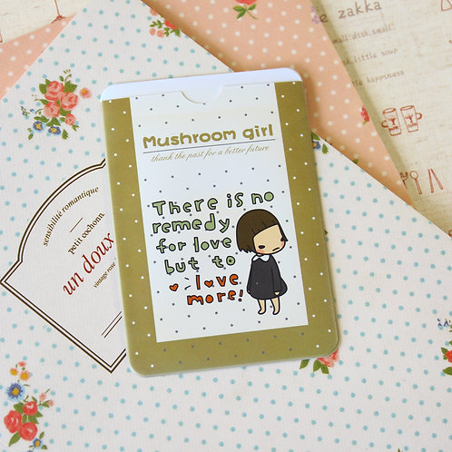 love more mushroom girl cartoon card holder