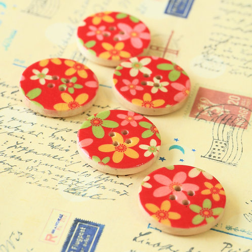 red flowers printed wooden buttons