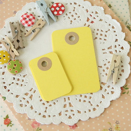 dandelion yellow rounded rectangle tags