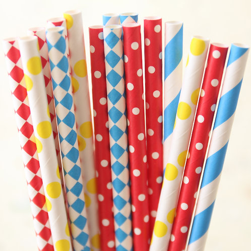 circus party mix paper straws