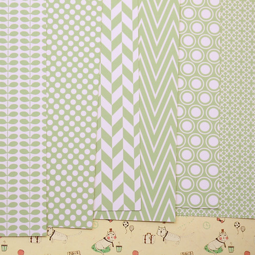 set 02 french green essentials mix printed card stock