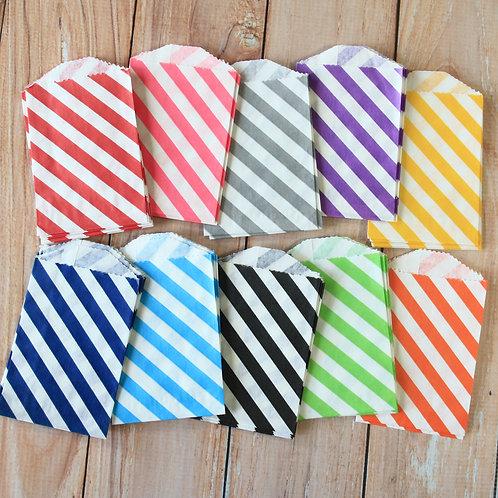 diagonal stripe itty bitty small paper bags