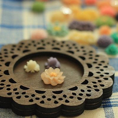 mercerie de france wooden lace coaster