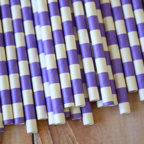 lilac circle stripe paper straws