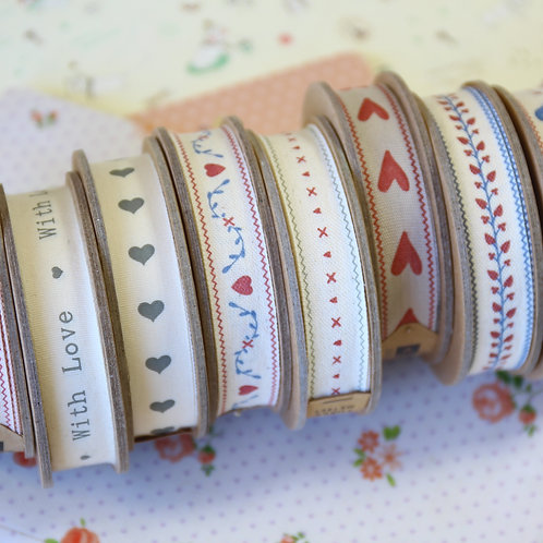 east of india homespun hearts ribbons