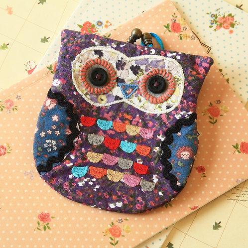 purple ditsy owl vintage floral clasp purse