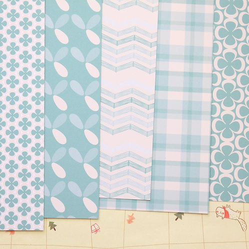 set 01 teal and cream patterns mix printed card stock