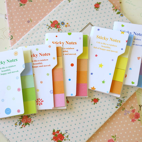 rainbow colour sticky notes tabs