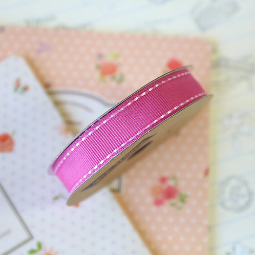 jane means raspberry pink stitched grosgrain ribbon