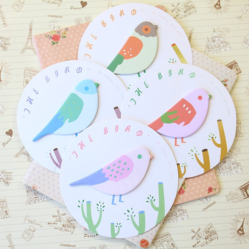 the bird cartoon shapes sticky notes