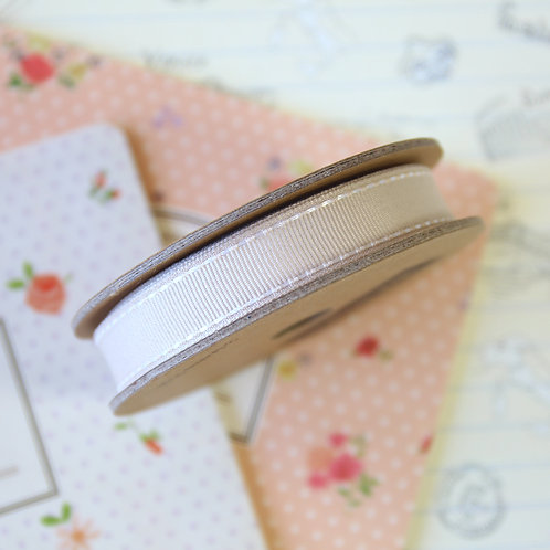 jane means beige brown stitched grosgrain ribbon