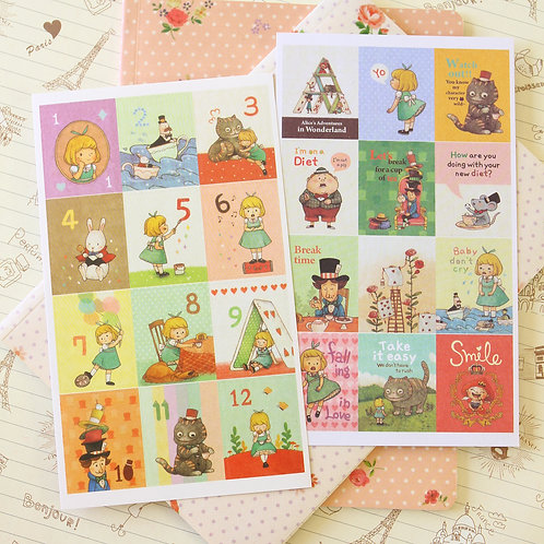 alice in wonderland cartoon stamp stickers