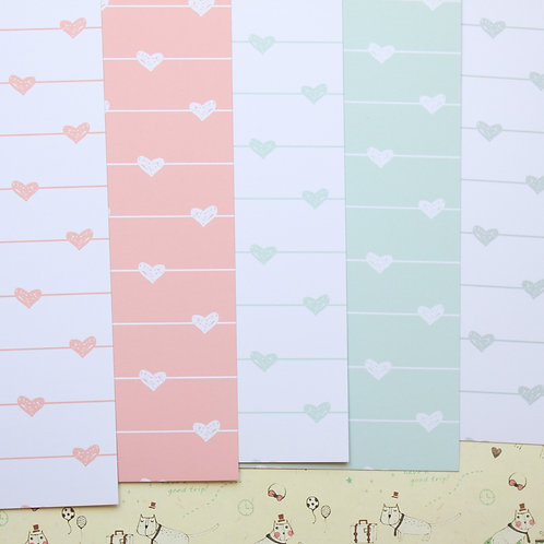 set 01 cute hearts printed card stock
