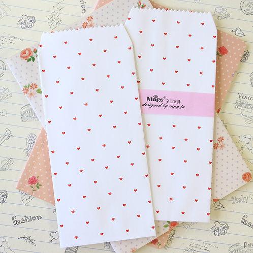 tiny red hearts natural pattern tall envelopes