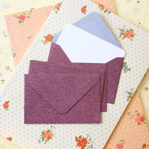 amaranth textured mini envelopes & notecards