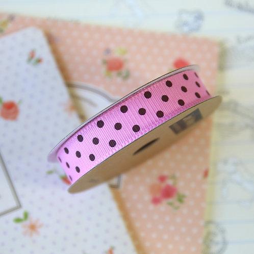 jane means bubblegum pink & brown polka dot ribbon