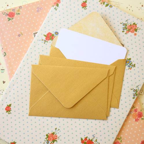 gold pearlescent mini envelopes & notecards