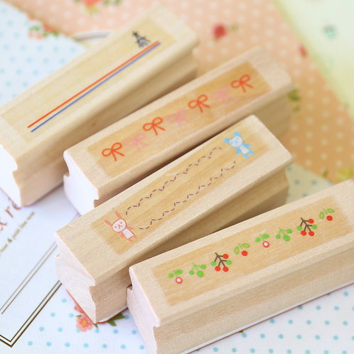 merrytree cartoon border rubber stamps