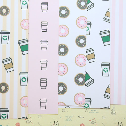 set 01 coffee and donut patterns printed card stock