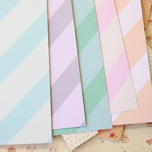 set 04 pastel ice cream stripes mix printed card stock