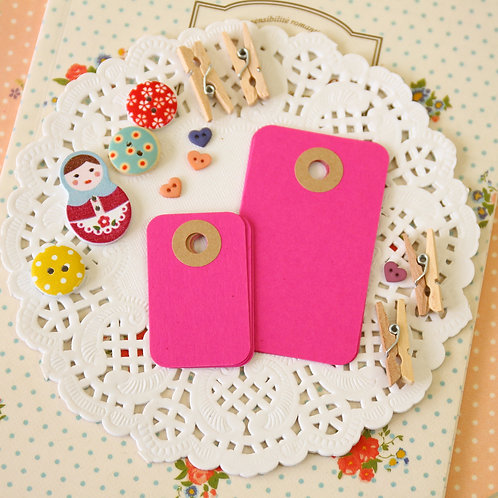 magenta pink rounded rectangle tags
