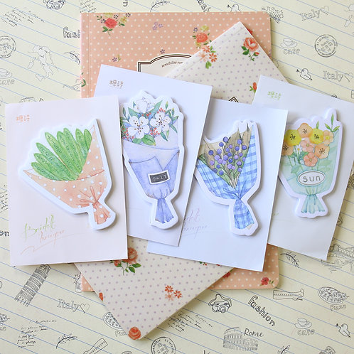 floral bouquet shapes cartoon sticky notes