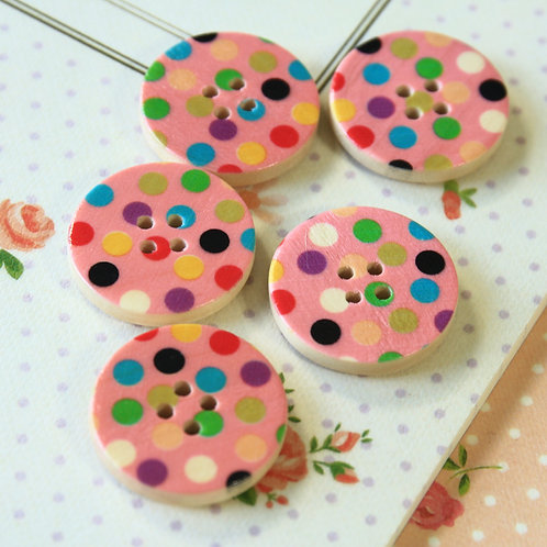 pink polka dot printed wooden buttons