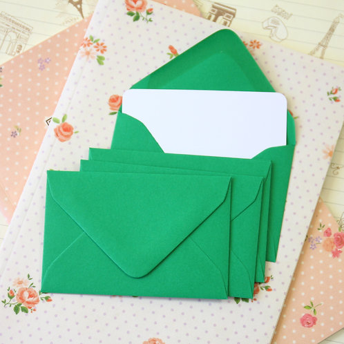 christmas green colour mini envelopes & note cards