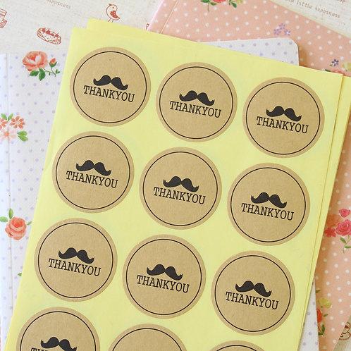 kraft brown thank you mustache sticker seals
