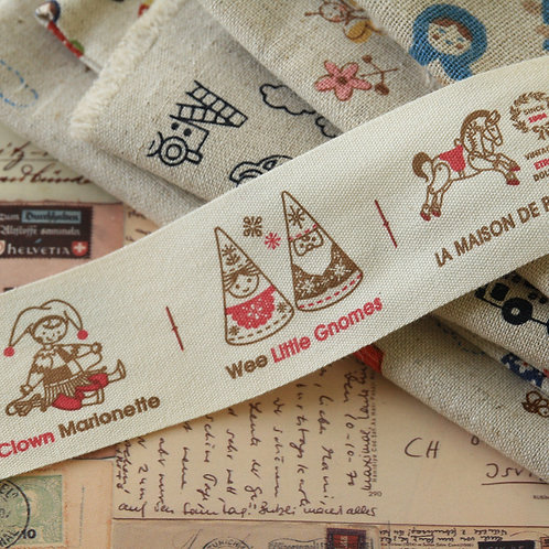 wee little gnomes cartoon cotton sewing tape ribbon