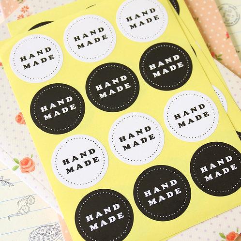 black & white handmade printed sticker seal labels