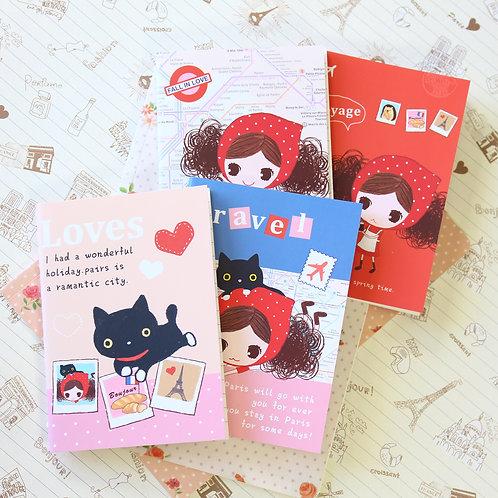 pura girl paris A6 cartoon notebook