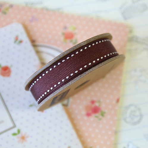 jane means chocolate brown stitched grosgrain ribbon