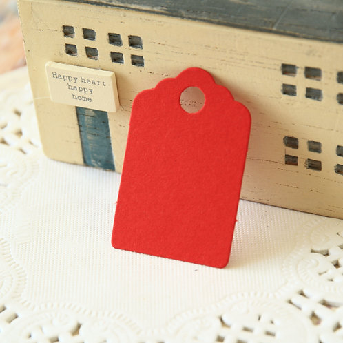 scarlet red scallop swing tags