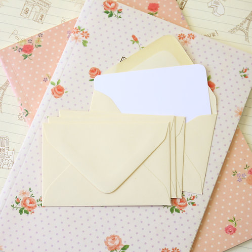 cream colour mini envelopes & note cards