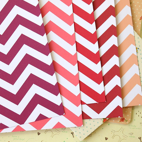 red mix fat chevron printed card stock